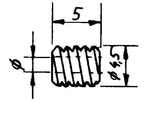 Schnecke, Modul 0,3, ø 4,5 mm, Länge 5,0mm, Messing