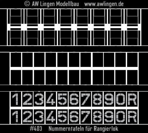 Nummerntafeln für Rangierlok