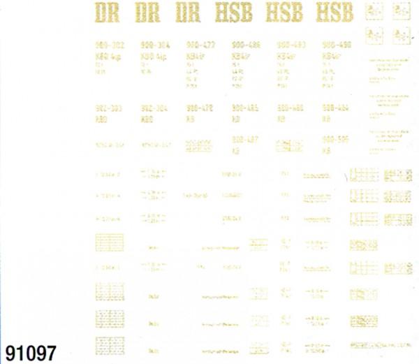 Beschriftungssatz für HSB Wagen