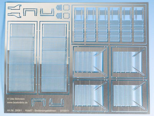 Umbausatz für PIKO Kds67: Bedienungsbühnen, Zettelhalter, Schlussscheiben-/Laternenhalter