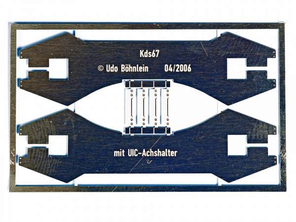 Achshalter mit Achshaltersteg für PIKO-Kds67, mit Achshalterbrücke, spätere Ausführung ohne Sicken