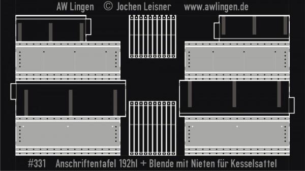Anschriftentafel für Kesselwagen 192hl (Fleischmann) + Blender mit Nieten für Kesselsattel