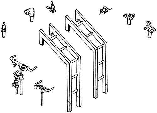 Satz Tenderleitern für Baureihe 44 der DR Ölhauptfeuerung mit Armaturen und Haltern
