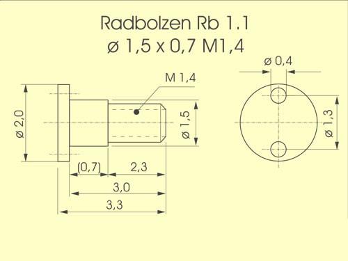 Radbolzen RB 2.2 ø 1,5 x 0,7mm, M1,4, z.B. Weinert-Loks