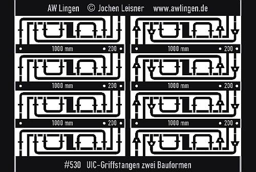 UIC Griffstangen (2 Bauformen) mit Bohrschablone