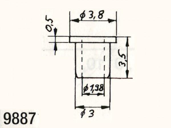 Isolierbuchsen mit 0,98 mm Innendurchmesser für Räder