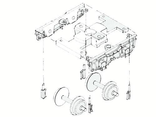 Drehgestellblenden für Schmalspur H0m, 14,3 mm Achsstand, Bauart Weyer + Co, Düsseldorf