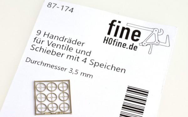 9 Handräder für Ventile und Schieber mit 4 Speichen, ø 3,5 mmm