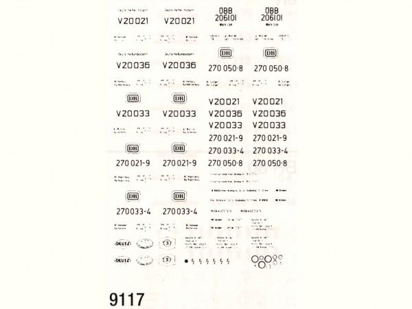 Beschriftung für die V20 (270), Schiebebilder