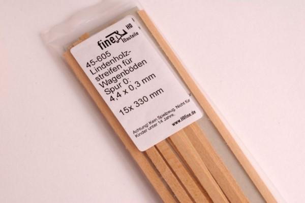 Lindenholzstreifen für Wagenböden 4,4 x 0,3 mm - Spur 0