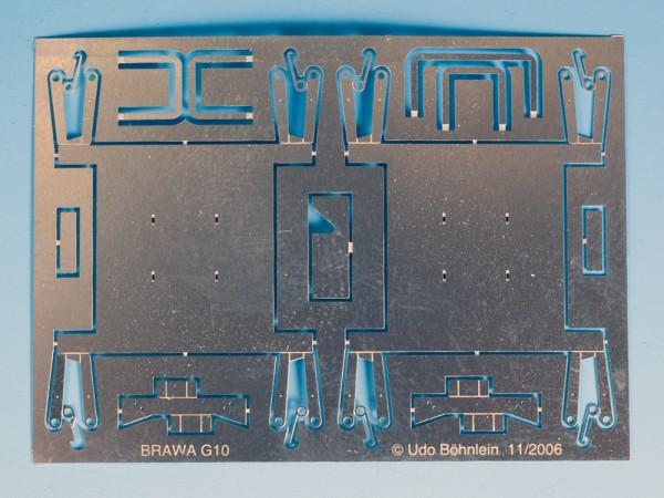 Zurüstsatz 1 für BRAWA-G10: Bremsklotzhängeeisen, Festpunktbock, Zylinderhebelführung