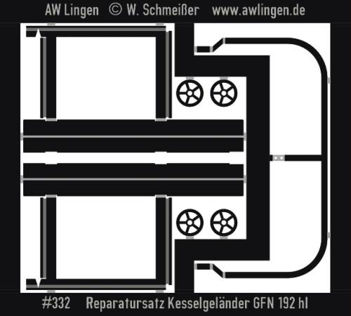 Bühnengeländer für 192hl Kesselwagen (Fleischmann)