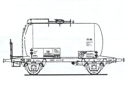 Beschriftungssatz für 8 Kesselwagen (Privatwagen) eingestellt der Deutschen Bundesbahn (DB) Epoche I