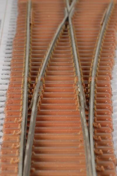 Federzungenweiche EW190-1:9 links mit Stahlschwellen