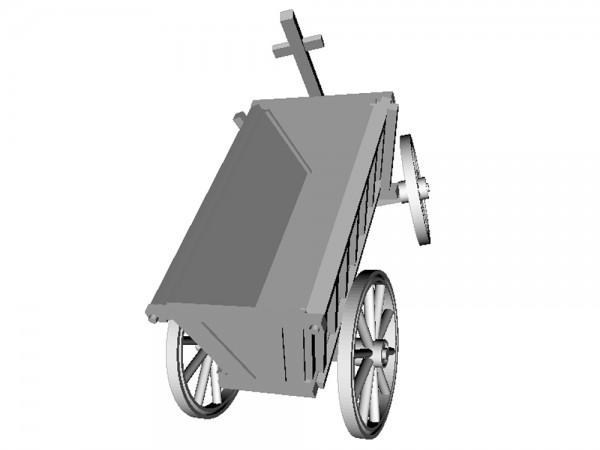 Opa's kleiner Handwagen, Leiterwagen geschlossen, Deichsel eingelenkt - 3D-Druck