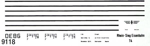 Beschriftungssatz für den VT 302, Zierlinien beige