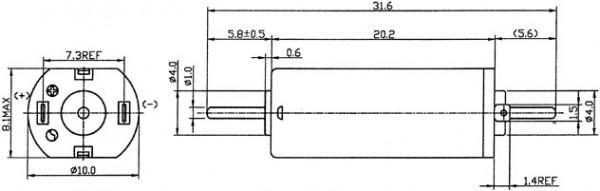 Motraxx Motor 10mm breit, 8 mm hoch, 1 mm Wellen beidseitig, 12V