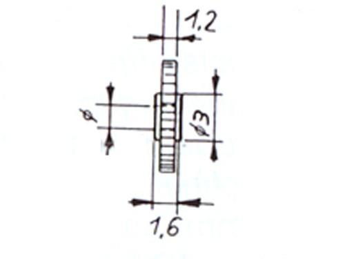 Zahnrad, Modul 0,4 14 Zähne Kunststoff, Bohrung ø 1,47mm