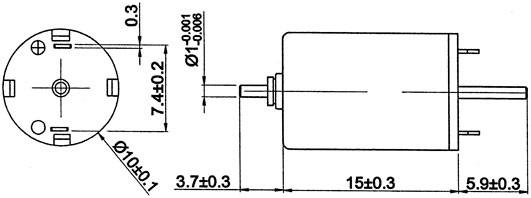 Motraxx coreless Motor ø 10mm, 1 mm Wellen beidseitig