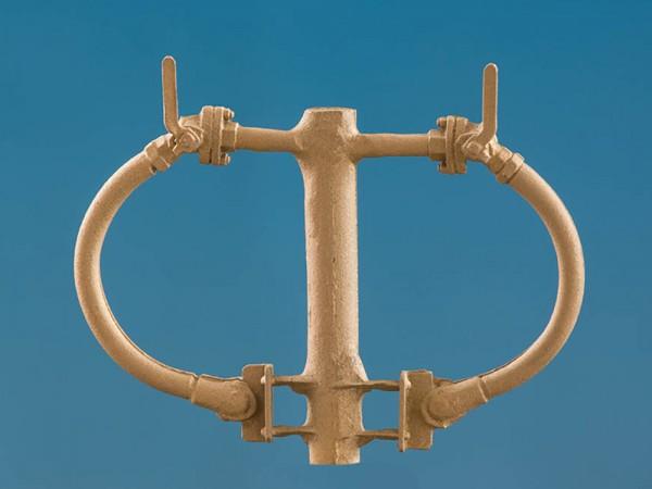 Einheitsbremsschlauch, glatt mit geradem Ansetzflansch an der Pufferbohle, Messinggussteile - Spur
