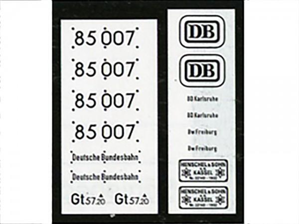 Neusilber-Ätzbeschriftung Lok 85 007 DB