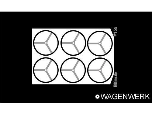 Handräder für bodenbedienbare Handbremse 3 Speichen ø 6,0 mm