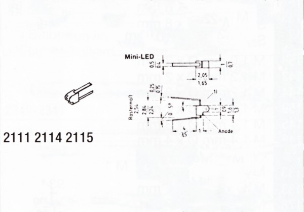 Mini-LED 1 x 2mm groß, rot