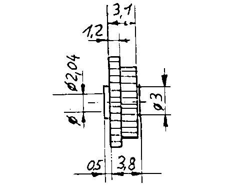 Stufenzahnrad, 20 (Modul 0,5) auf 20 (Modul 0,4) Zähne