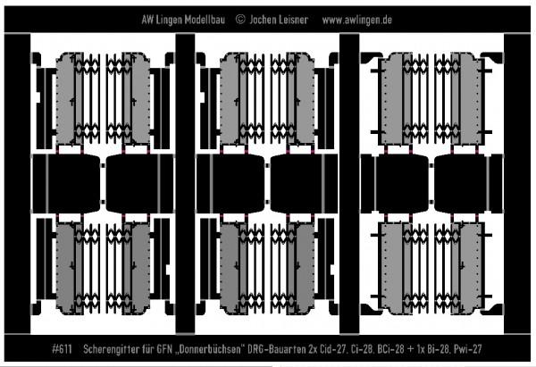 Scherengitter und Übergangsbleche für Fleischmann Donnerbüchsen Bauarten 28-32