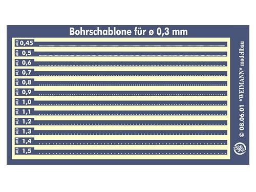 Bohrschablone für Nietreihen, Bohrung ø 0,3 mm