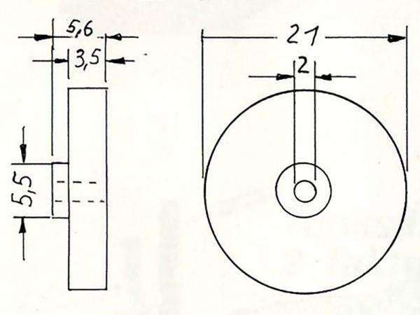 Messing-Schwungscheibe, ø 21,0 mm, 3,5 mm stark, 2 mm Bohrung