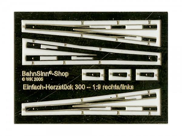 Herzstück-Futterstücke EW 300-1:9 (H0pur®/Fremo87/Proto87)