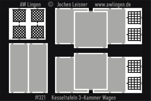 Kesseltafeln für 3-Kammer Kesselwagen (Liliput)