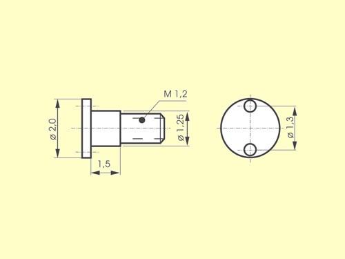 Radbolzen RB 1 ø 1,25 x 1,5mm, M1,2, z.B. BRAWA V 15/V23