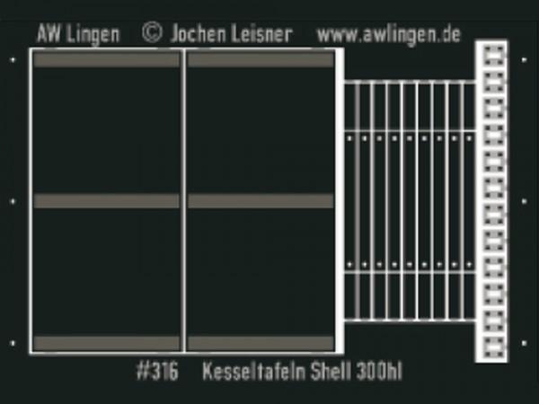 Kesseltafeln Shell für 300 hl Kesselwagen